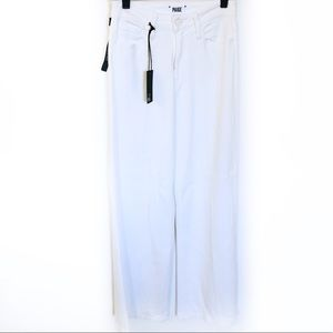 Paige Petite High Rise White Wide Leg Jeans 25
